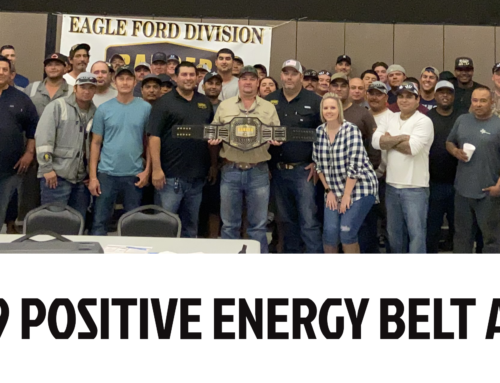 Ranger Energy Services' Q4 2019 Positive Energy Belt awarded to team in Pleasanton, Texas.