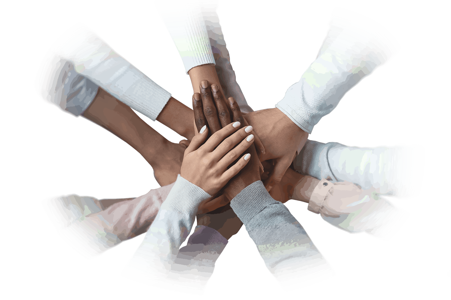 ESG-Social a diverse group of hands all huddled together